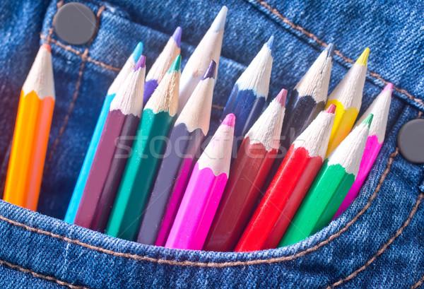 Színesceruza ceruza kék városi szövet farmer Stock fotó © tycoon