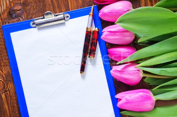 tulips and note Stock photo © tycoon