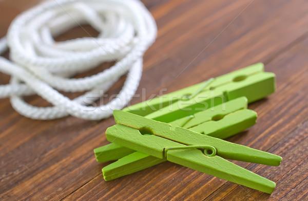 Touw wasknijper hout werk home kabel Stockfoto © tycoon