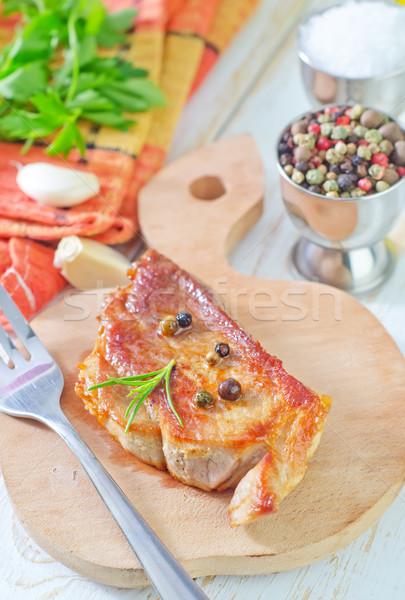 Viande bois plaque couteau Cook Photo stock © tycoon
