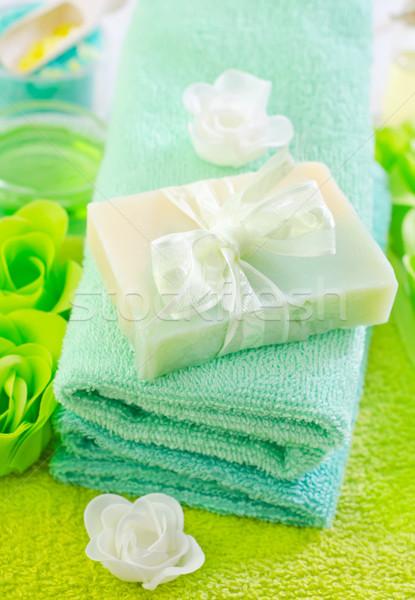 Zeezout zeep lichaam Blauw spa witte Stockfoto © tycoon