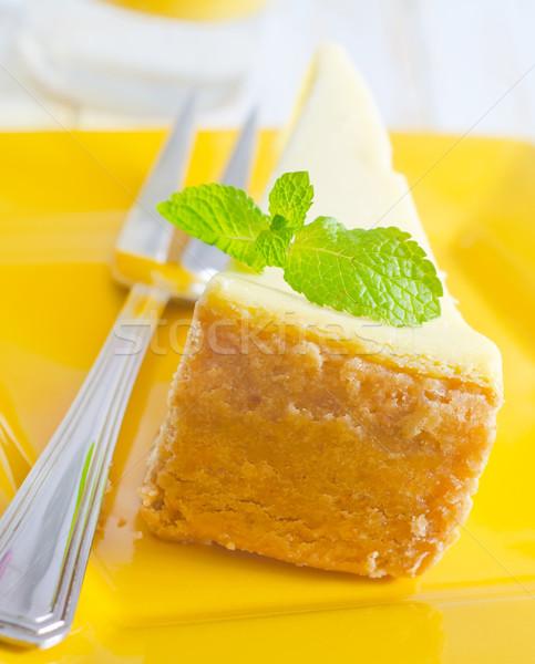 チーズケーキ 背景 レストラン ディナー プレート フォーク ストックフォト © tycoon