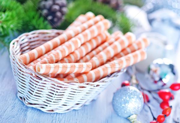 Waffle natal decoração tabela textura Foto stock © tycoon