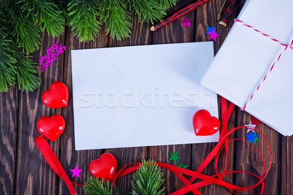 Noel dekorasyon Eski kağıt dikkat arka plan mektup Stok fotoğraf © tycoon
