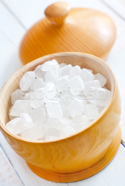 White sugar in the wooden vase Stock photo © tycoon
