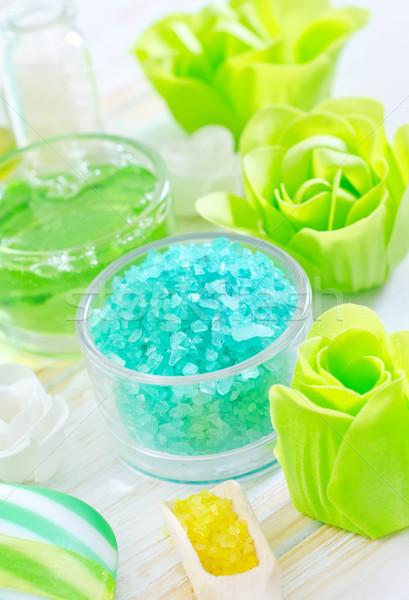 Zeezout zeep lichaam Blauw ontspannen olie Stockfoto © tycoon