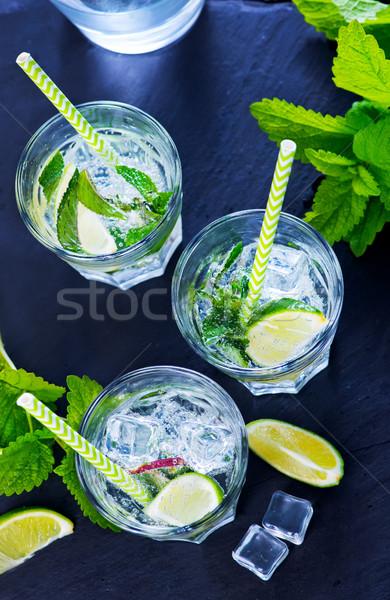 Mojito frio vidro tabela água comida Foto stock © tycoon