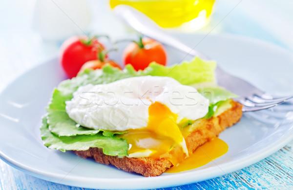 poached egg on toast Stock photo © tycoon