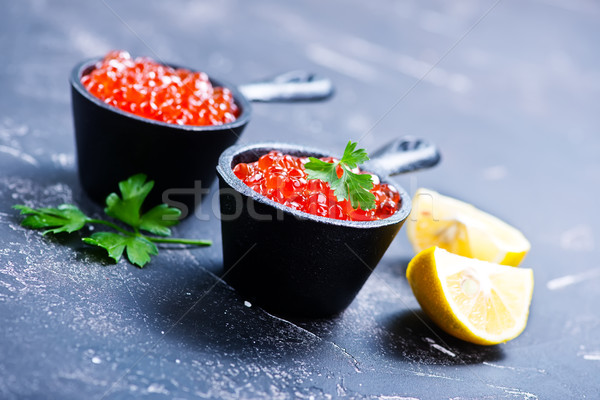 Saumon caviar rouge bols table bois Photo stock © tycoon