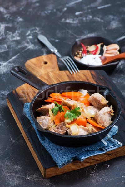 Mięsa warzyw pan kuchnia restauracji Zdjęcia stock © tycoon