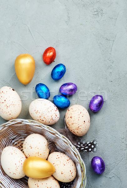 Pâques œufs de Pâques fleurs texture bois maison Photo stock © tycoon