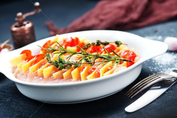 Kipfilet kaas plaat voedsel kip vlees Stockfoto © tycoon