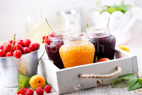 Jam jagody owoców tabeli żywności zdrowia Zdjęcia stock © tycoon