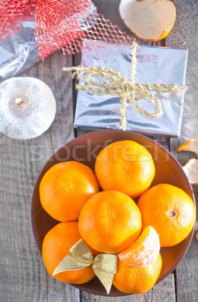 Christmas vruchten sneeuw oranje tabel aanwezig Stockfoto © tycoon