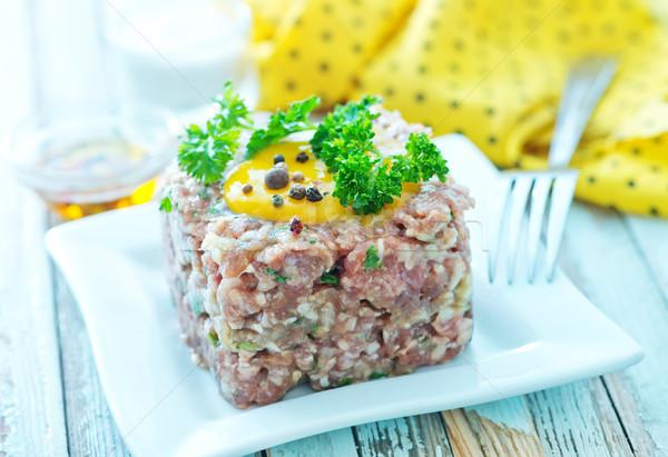 Foto d'archivio: Carne · tar · tuorlo · piatto · uovo · pranzo