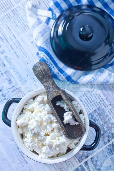 Cottage blu formaggio latte piatto grasso Foto d'archivio © tycoon