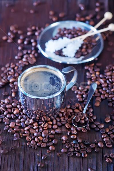 Kahve ahşap masa uzay tablo içmek siyah Stok fotoğraf © tycoon