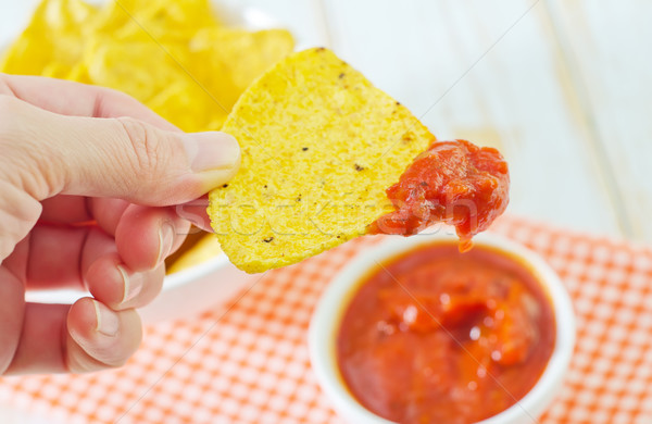 Nachos rouge maïs manger chaud déjeuner Photo stock © tycoon