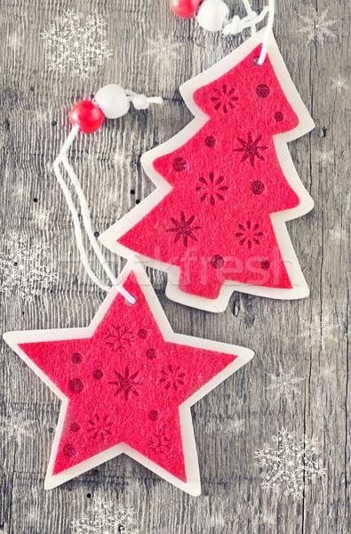 Karácsony dekoráció piros fa asztal fa fa Stock fotó © tycoon