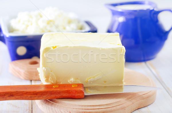 Butter Milch Hütte Essen Blatt Glas Stock foto © tycoon