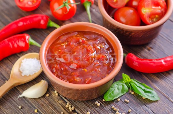 Sauce tomate pizza fruits verre fond pâtes Photo stock © tycoon