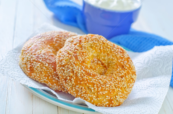 Stock photo: bagels with sesame