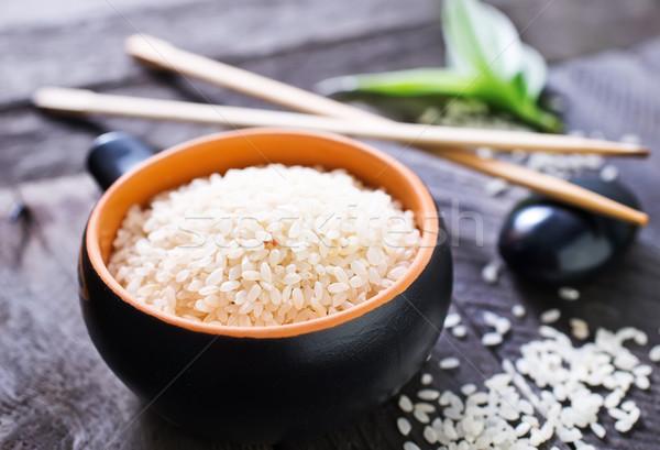 Foto stock: Crudo · arroz · tazón · mesa · naturaleza · hoja