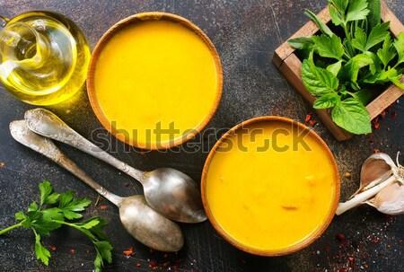 Kabak çorba çanak tablo gıda turuncu Stok fotoğraf © tycoon