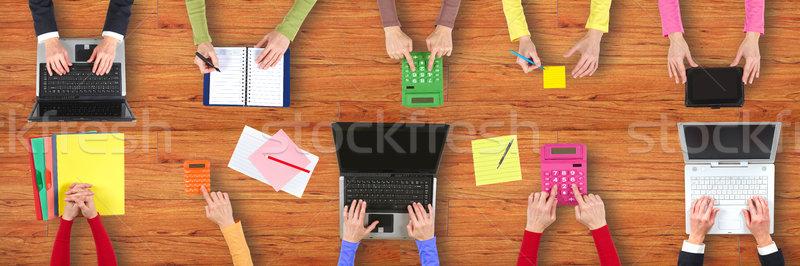 Mains bureau ordinateurs affaires texture Photo stock © ukrainec