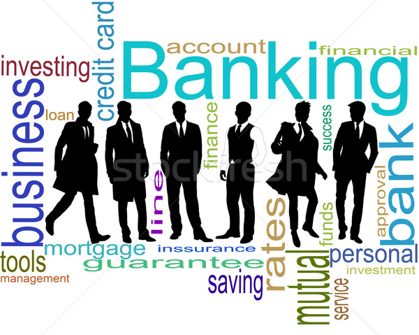 Negro siluetas empresarios blanco negocios oficina Foto stock © ukrainec