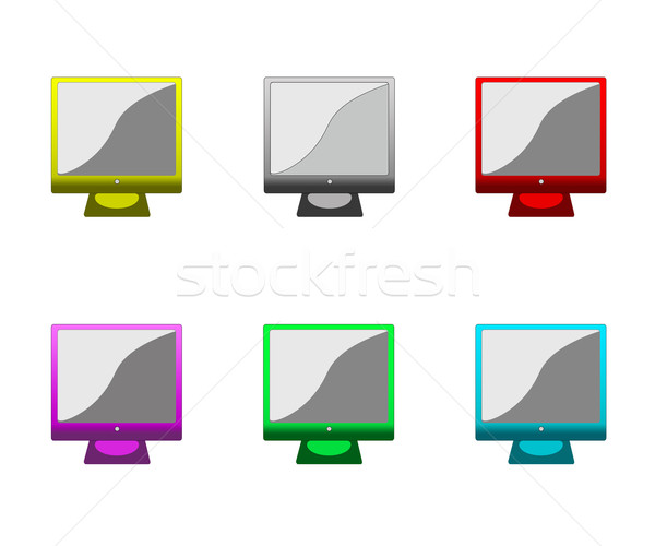 Set of multi-coloured monitors for office computers Stock photo © ukrainec