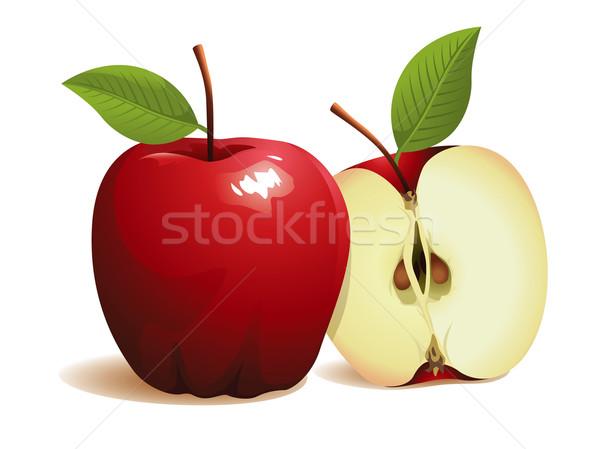 Stockfoto: Appel · vruchten · vers · Rood · vector · half