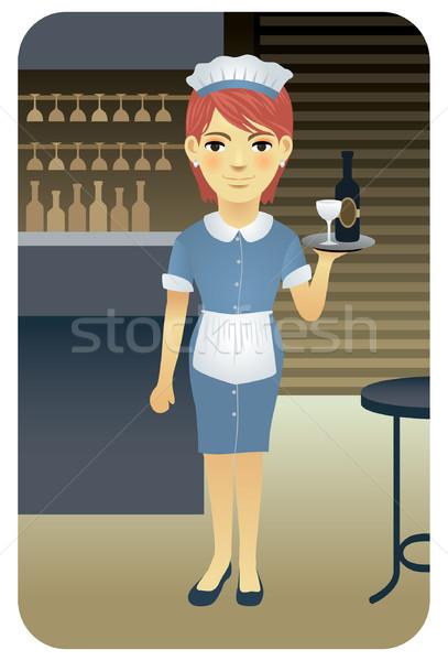 Garson genç içecekler bar gıda Stok fotoğraf © UltraPop