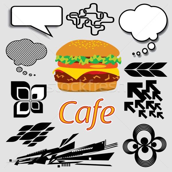 ハンバーガー グラフィック セット 画像 都市 ストックフォト © UltraPop