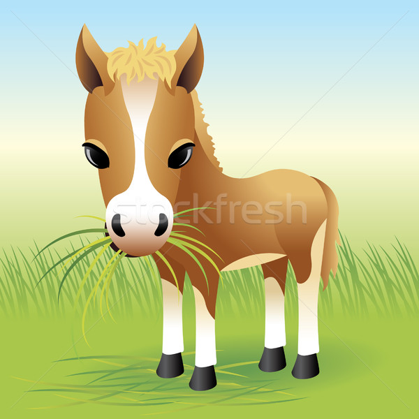 Ló póni illusztráció több állatok enyém Stock fotó © UltraPop