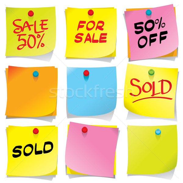 Sticky notes collectie meer verkoop mijn Stockfoto © UltraPop