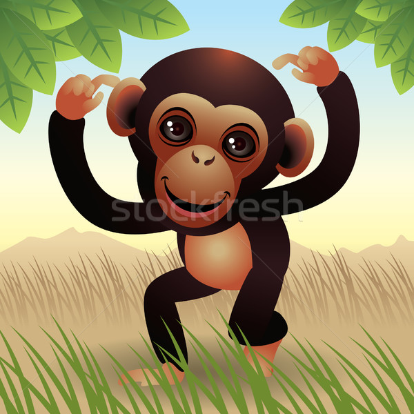 Singe illustration plus animaux portefeuille Photo stock © UltraPop