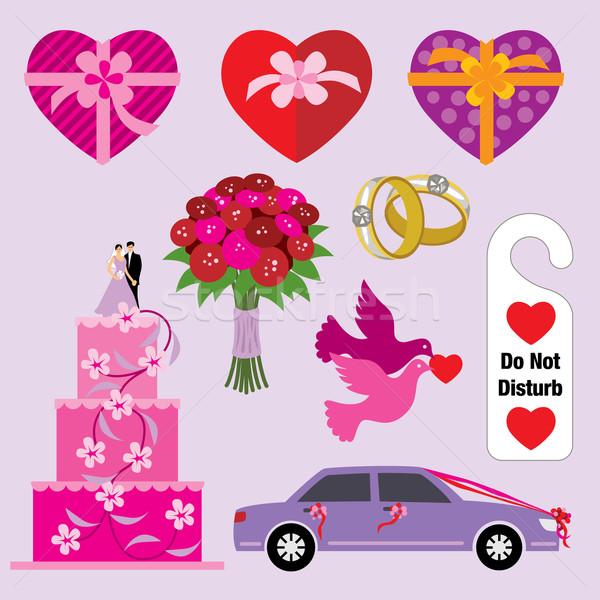 Bruiloft graphics symbolen auto duif huwelijk Stockfoto © UltraPop