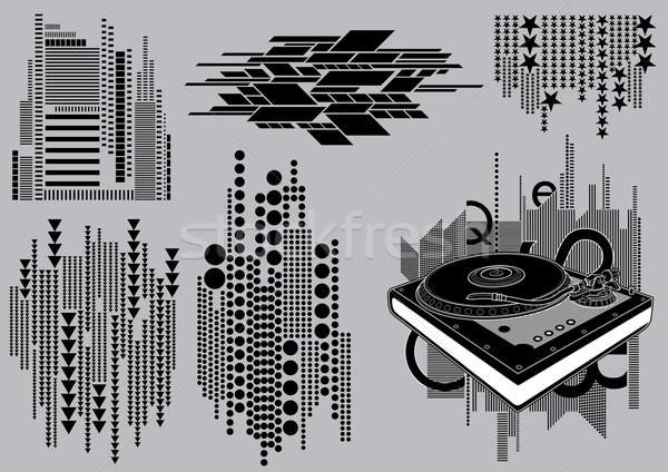 Draaitafel afbeelding mijn muziek collectie patroon Stockfoto © UltraPop