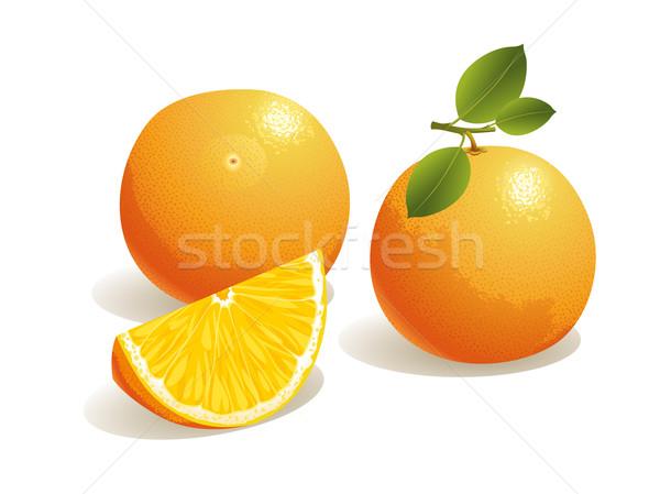 оранжевый плод реалистичный долька апельсина лист фрукты оранжевый Сток-фото © UltraPop