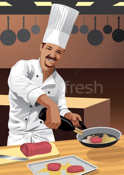 Kucharz gotować kuchnia ilustracja obraz mój Zdjęcia stock © UltraPop