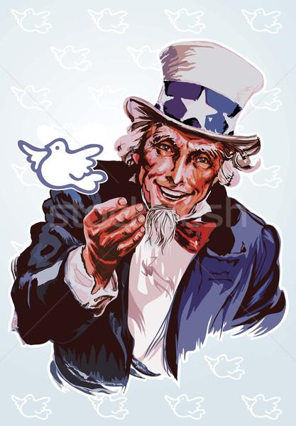 Nagybácsi illusztráció fehér galamb zászló retro Stock fotó © UltraPop