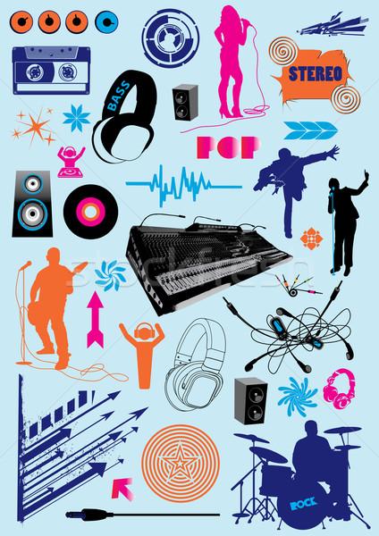 Müzik toplama vektör paketlemek dizayn elemanları Stok fotoğraf © UltraPop