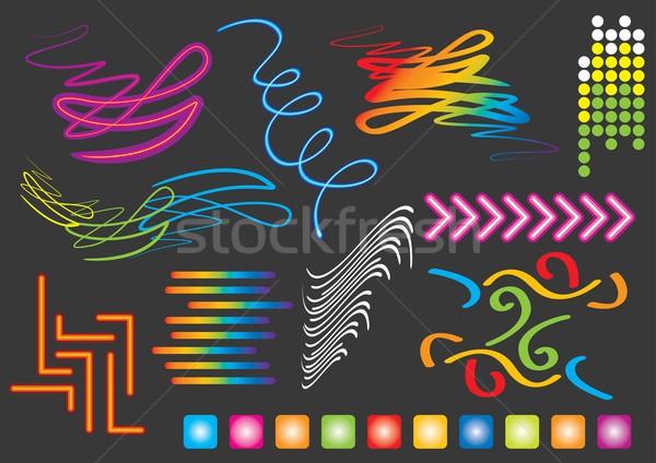 Neon ışık vektör ayarlamak görüntü benim Stok fotoğraf © UltraPop