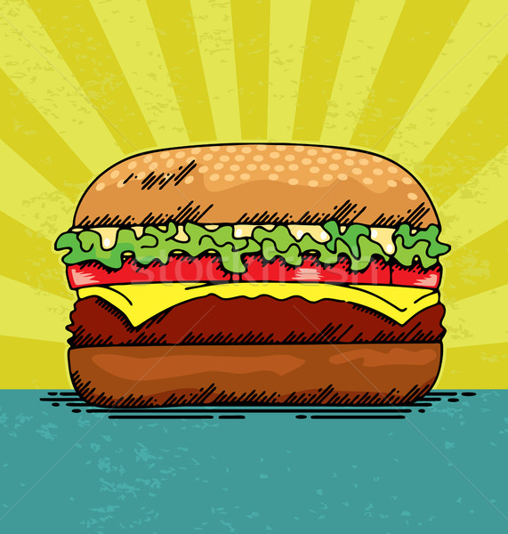 Hamburger sappig ontwerp retro sandwich tomaat Stockfoto © UltraPop