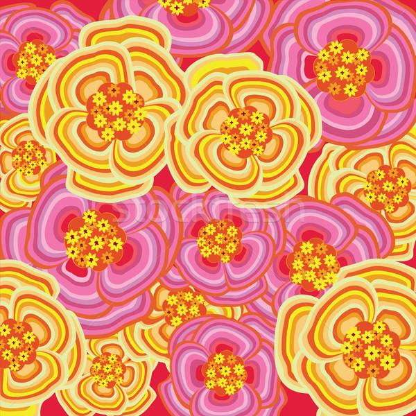 Bloem roze Geel vector behang Stockfoto © UltraPop