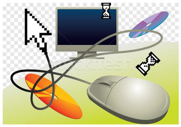 Bilgisayar iş vektör ayarlamak bilgisayar simgeleri Stok fotoğraf © UltraPop