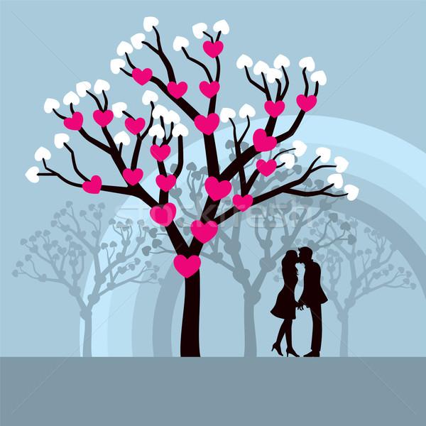 целоваться любви любителей дерево сердце графических Сток-фото © UltraPop