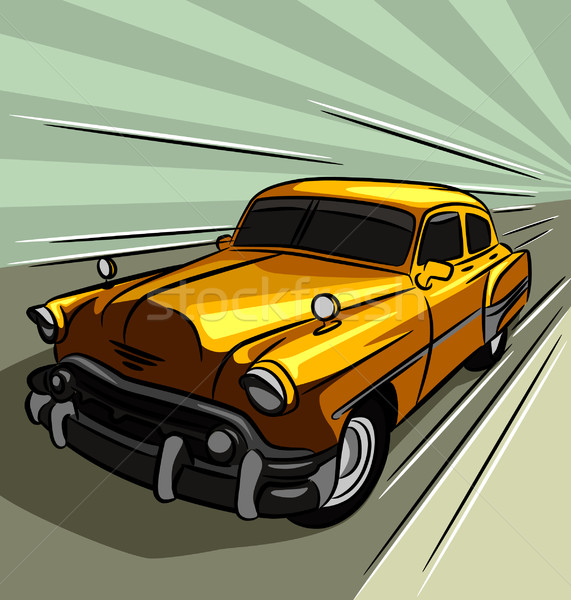Régi autó száguld utca terv művészet sebesség Stock fotó © UltraPop