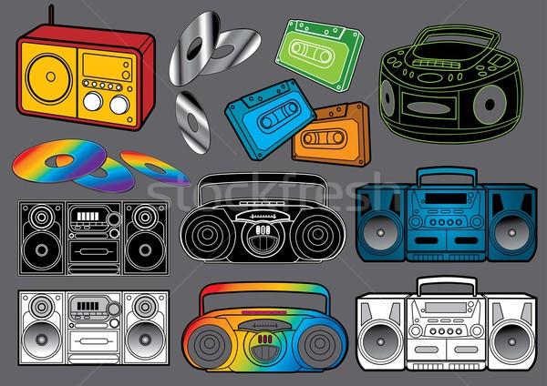 Foto stock: Rádio · vetor · conjunto · imagem · meu · música